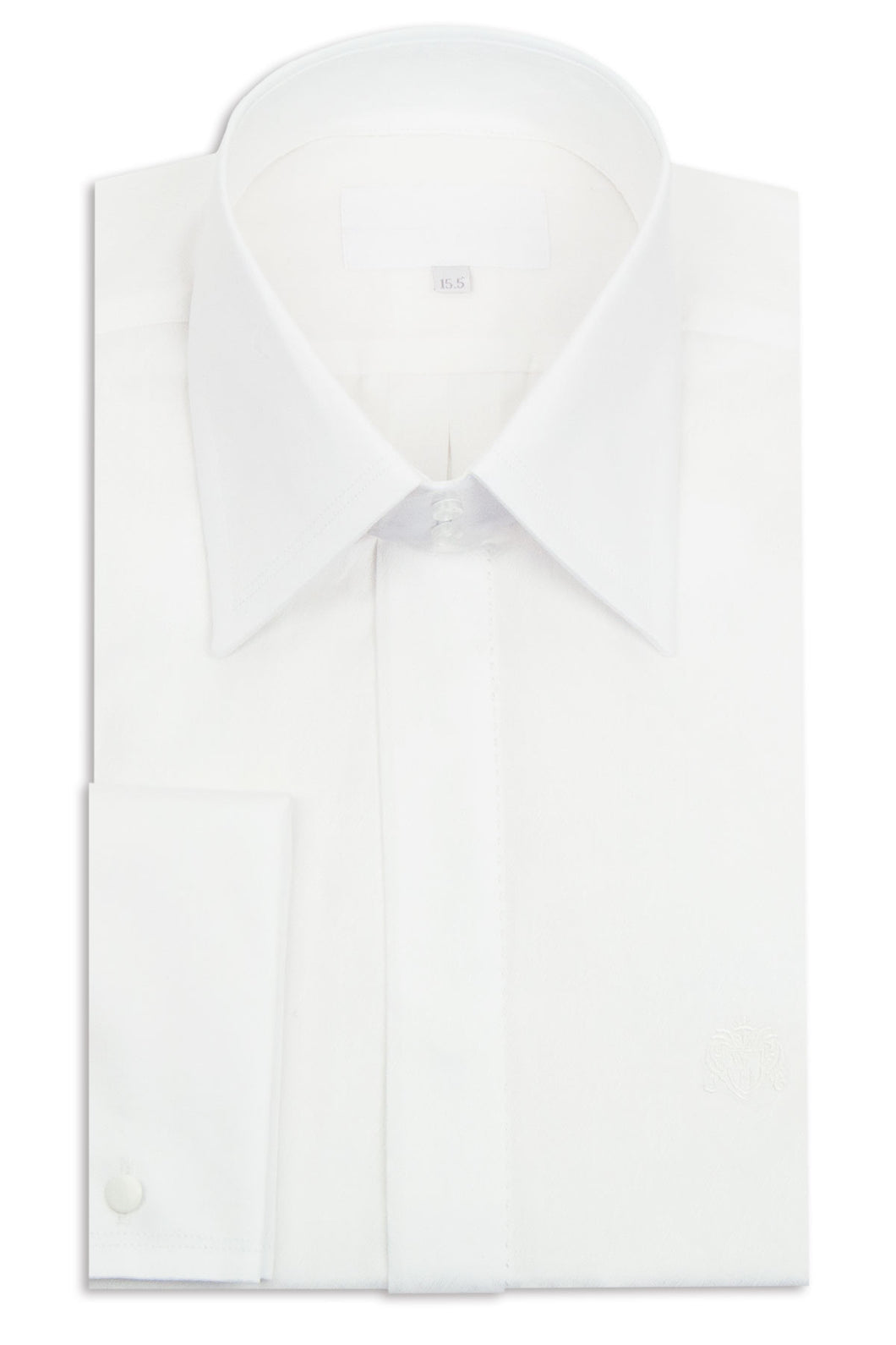 White Criss-Cross Forward Point Collar Shirt