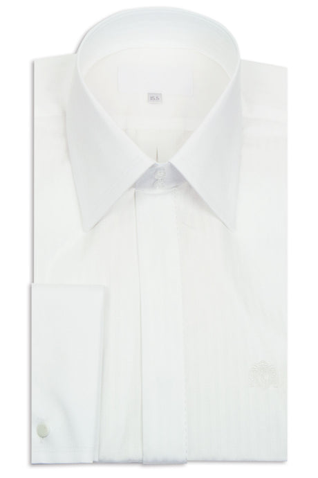 White Lined Striped Forward Point Collar Shirt