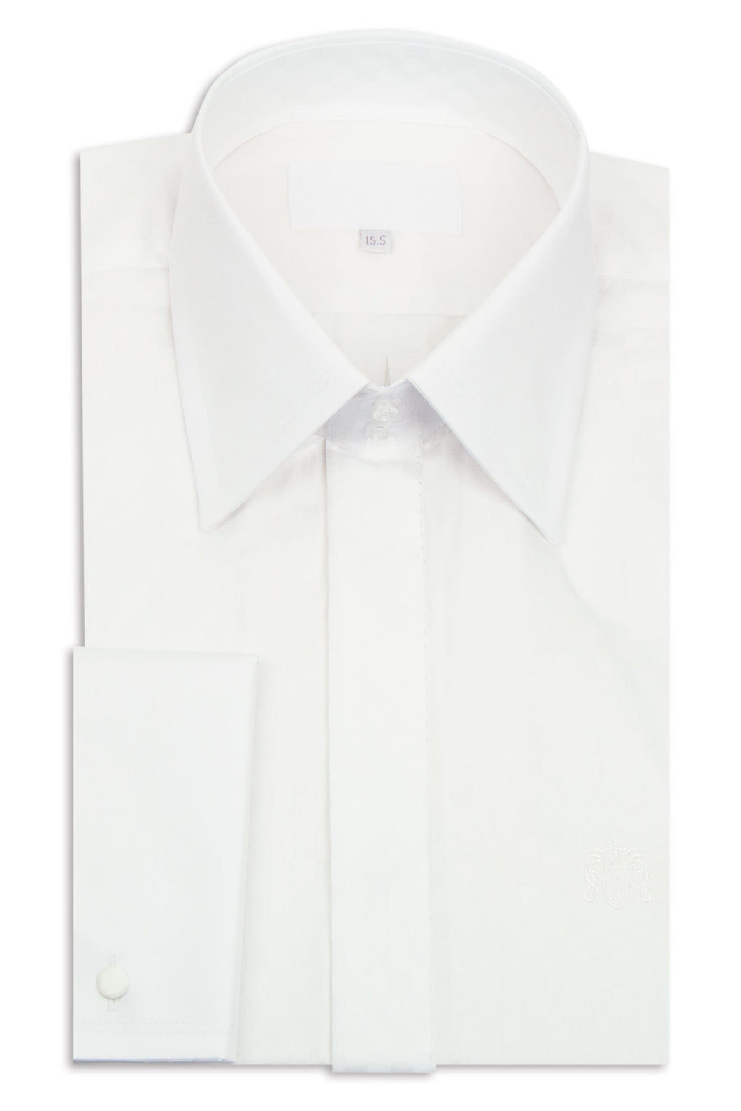 White Check Squared Forward Point Collar Shirt