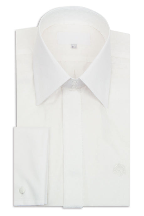 White Pattern Forward Point Collar Shirt