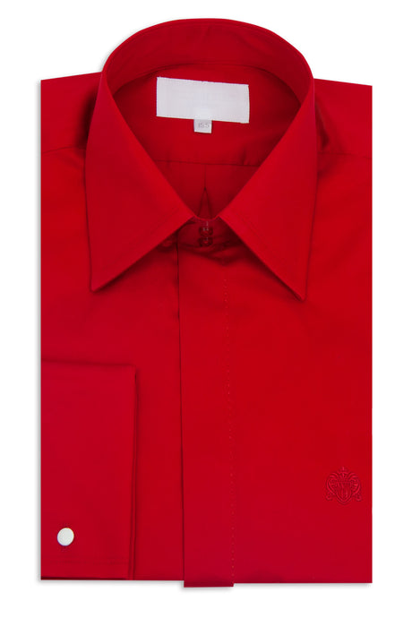 Classic Red Forward Point Collar Shirt