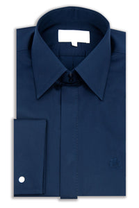 Classic Navy Forward Point Collar Shirt