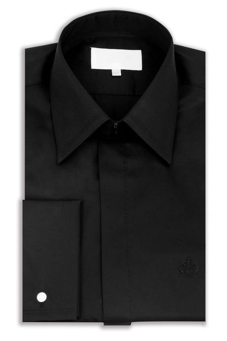Classic Black Forward Point Collar Shirt