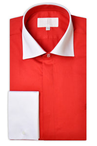 Fire Burst Red Cotton Poplin Shirt with Matching Tie - William Hunt Savile Row