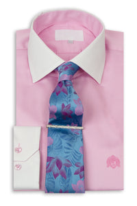 Pink Cutaway Collar Shirt with White Collar With Tie