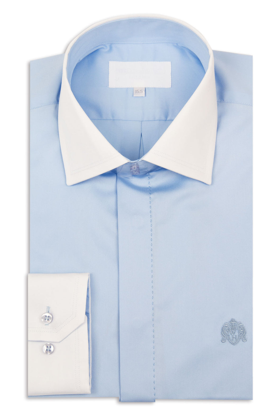Sky Blue Cutaway Collar Shirt with White Collar