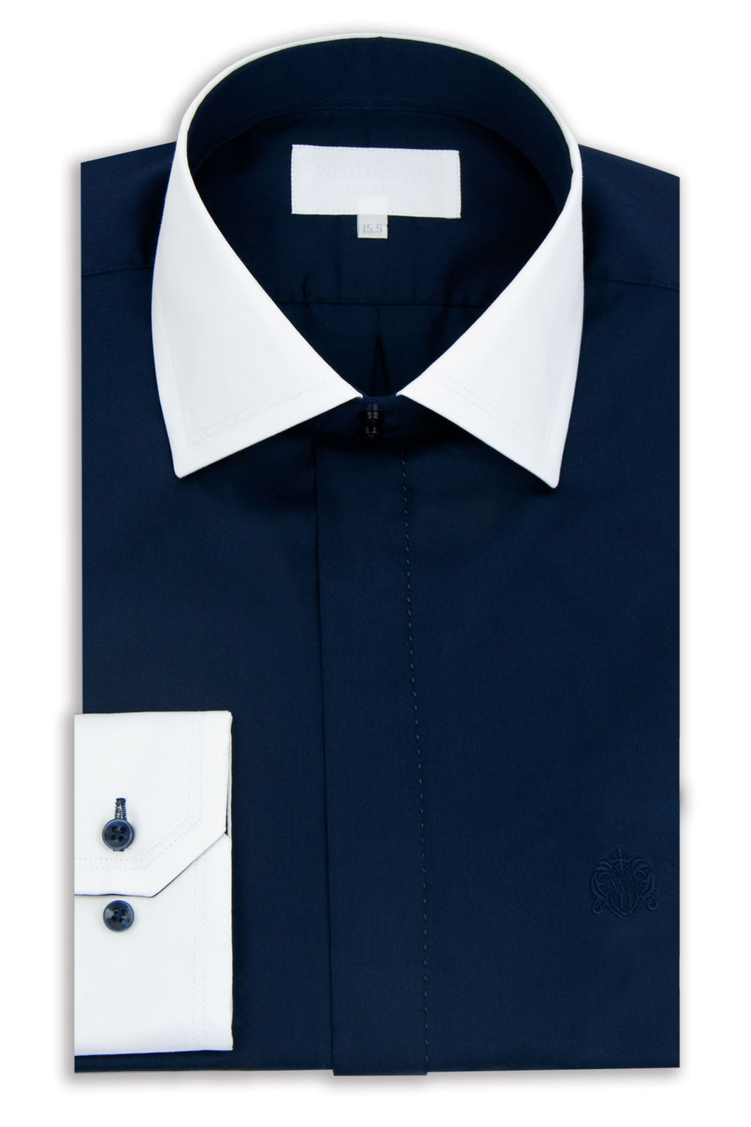 Navy Cutaway Collar Shirt with White Collar