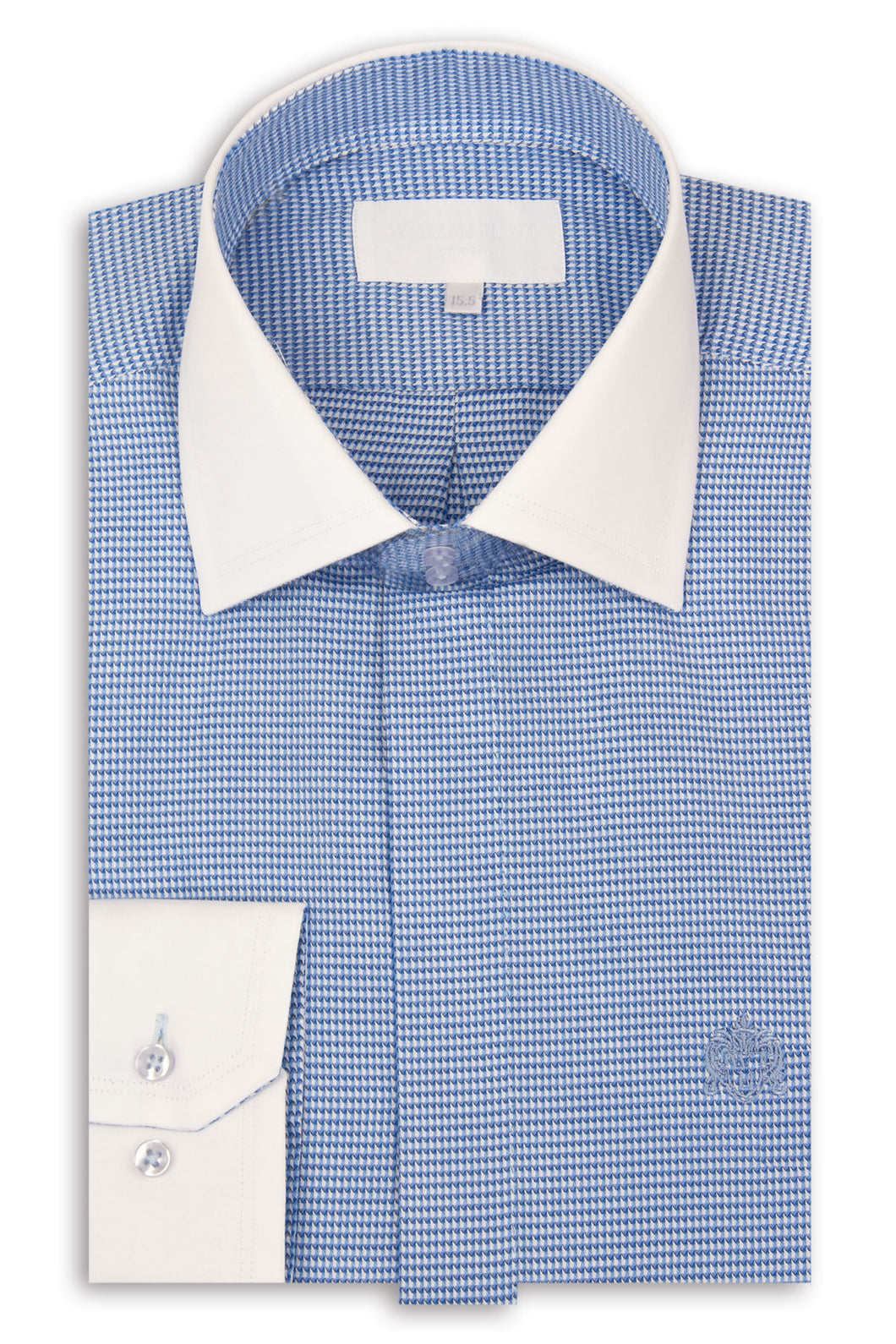 Blue Cutaway Collar Shirt with White Pattern