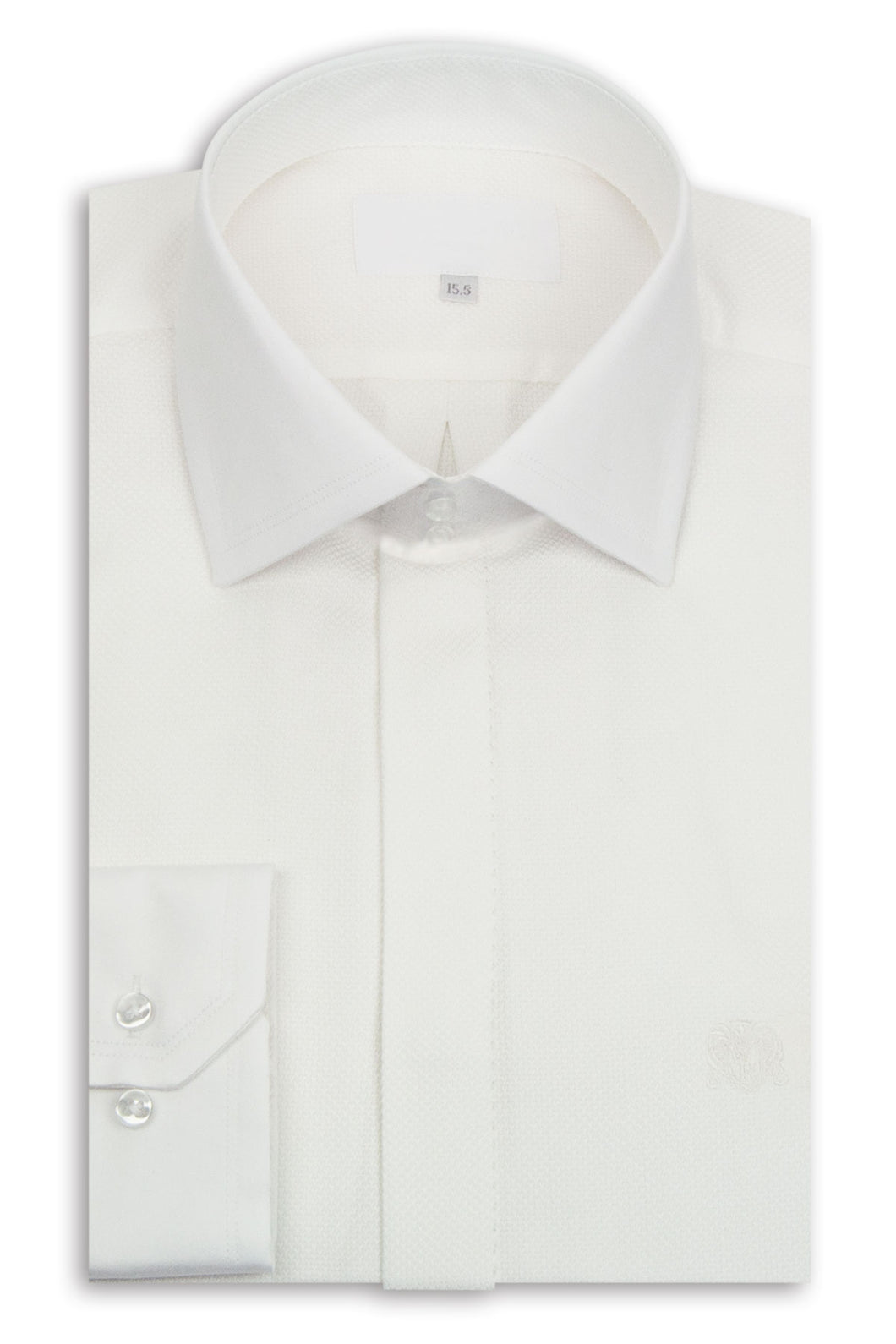 White Cutaway Collar Shirt with Textured Pattern