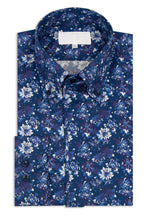 Navy Floral Button Down Collar Shirt