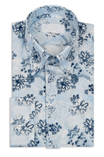 Sky Blue Floral Button Down Collar Shirt