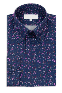 Navy with Striking Floral Button Down Collar Shirt