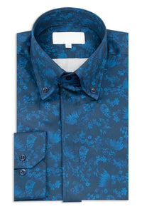 Navy with Blue Floral Button Down Collar Shirt