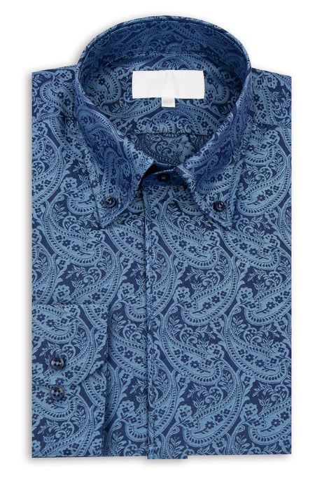 Navy and Blue Paisley Print Button Down Collar Shirt