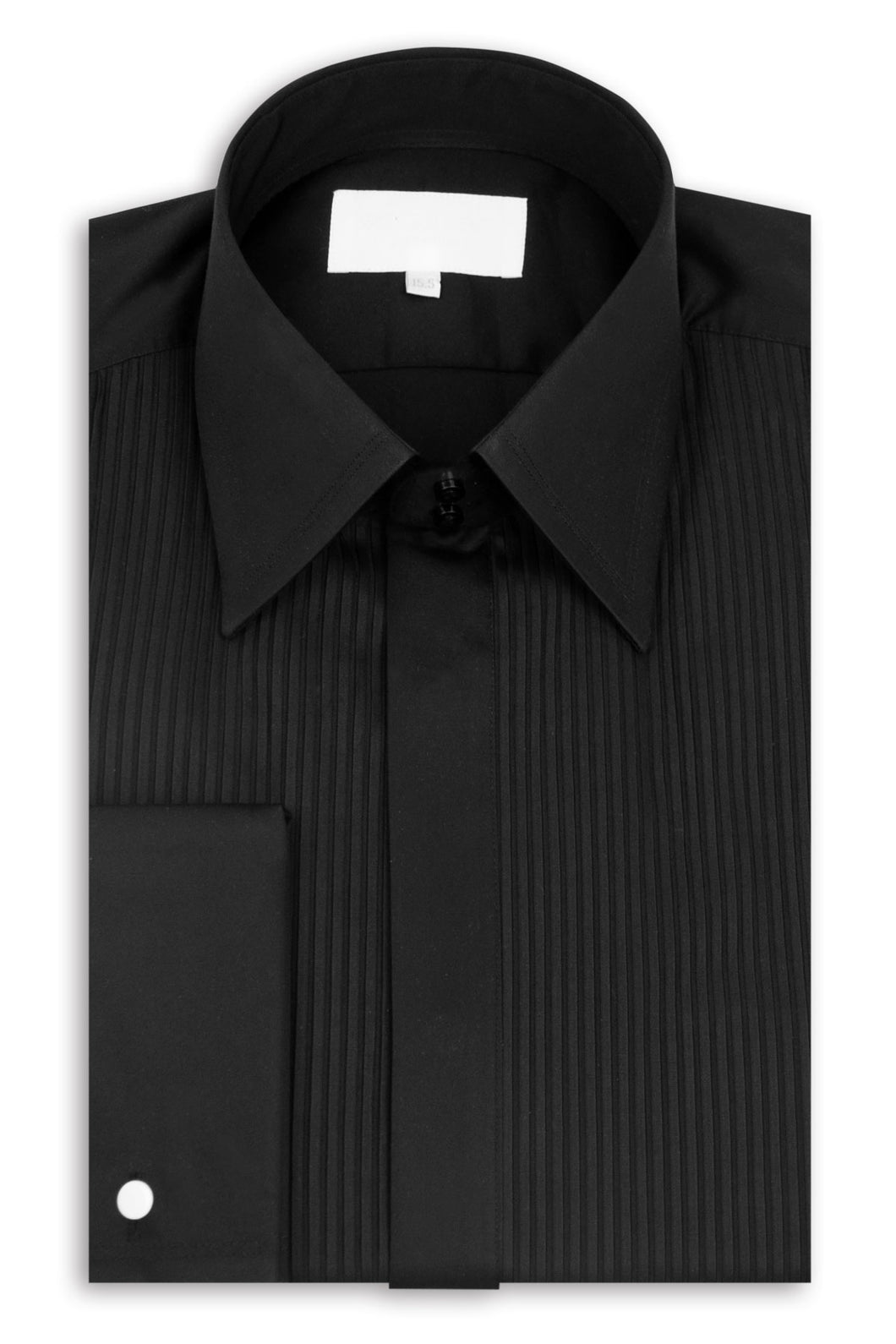 Classic Black Forward Point Collar Striped Dinner Shirt