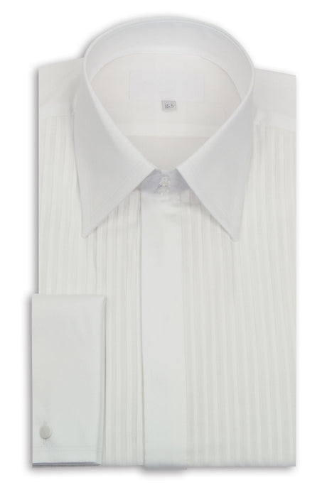Classic White Forward Point Collar Striped Dinner Shirt