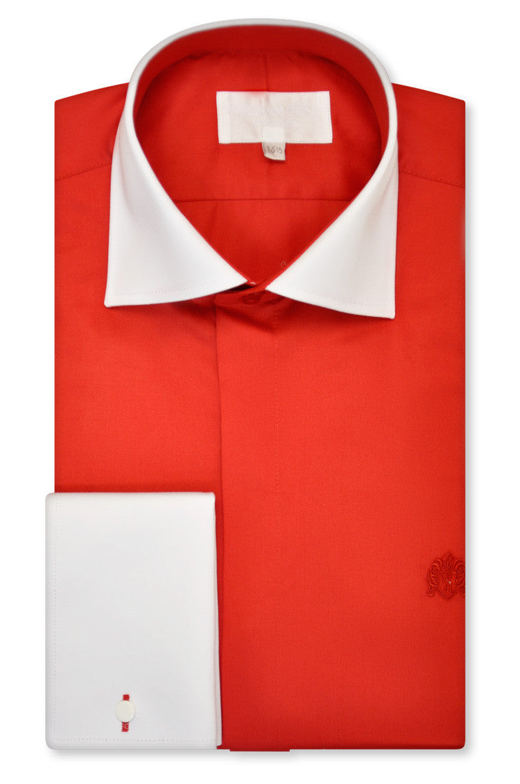 Scuderia Red Cutaway Collar Shirt - William Hunt Savile Row