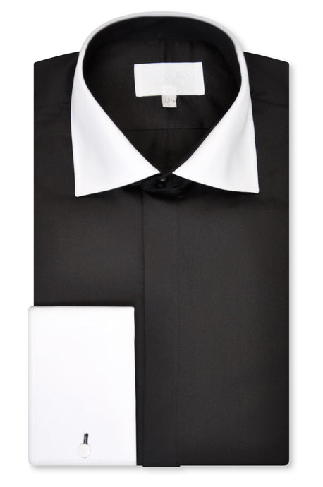 Black Cutaway Collar Shirt - William Hunt Savile Row