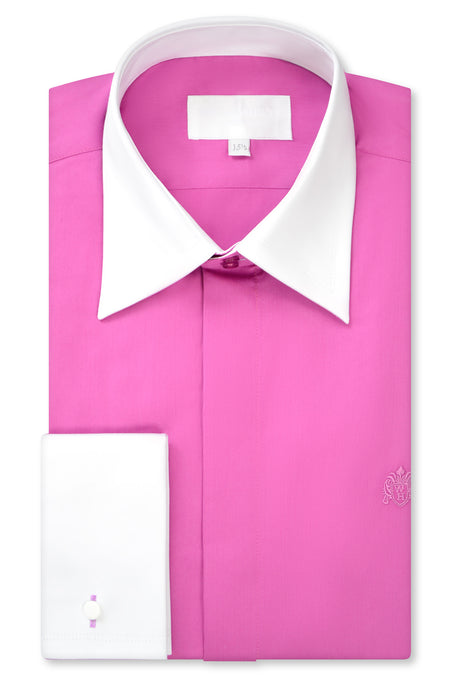 Fuchsia Pink Forward Point Collar Shirt