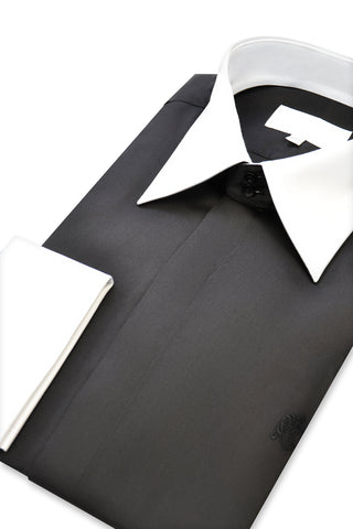 Black Contrasting Forward Point Collar Shirt
