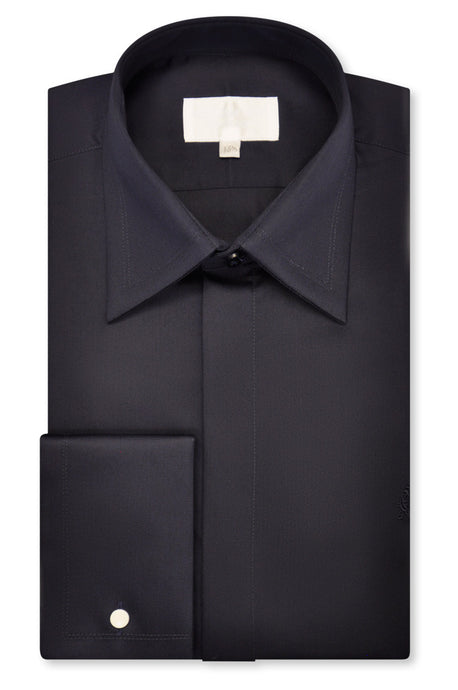 Navy Forward Point Collar Shirt - William Hunt Savile Row