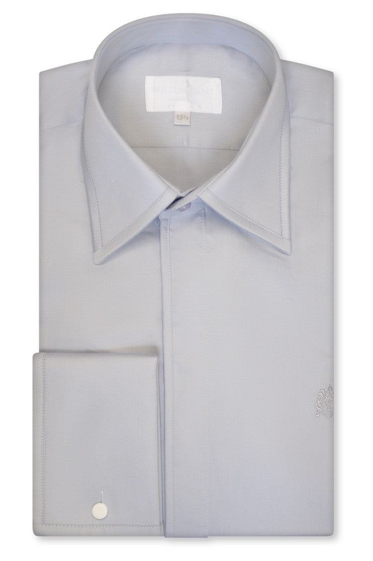 Silver Grey Forward Point Collar Shirt with Matching Tie - William Hunt Savile Row