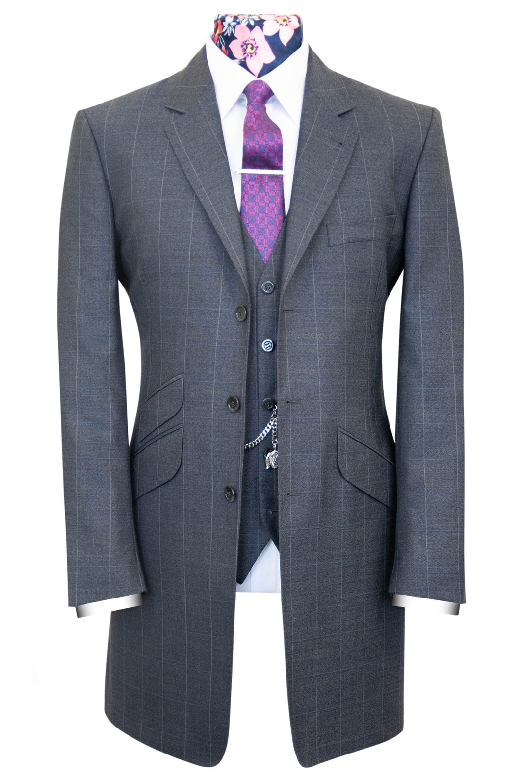 The Bell Grey Long Jacket Suit with White Windowpane Check