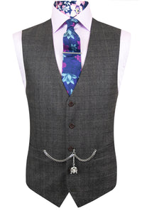 The Bowen Brown Long Jacket with Matching Waistcoat Front