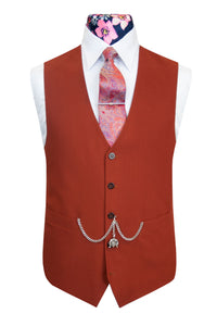The Coltishall Burnt Orange Classic Suit Waistcoat Front