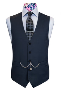 The Edwards Charcoal Velvet Collar Front Waistcoat