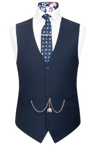 William Hunt Savile Row Navy blue five button waistcoat with navy sateen lining with back buckle fastening.