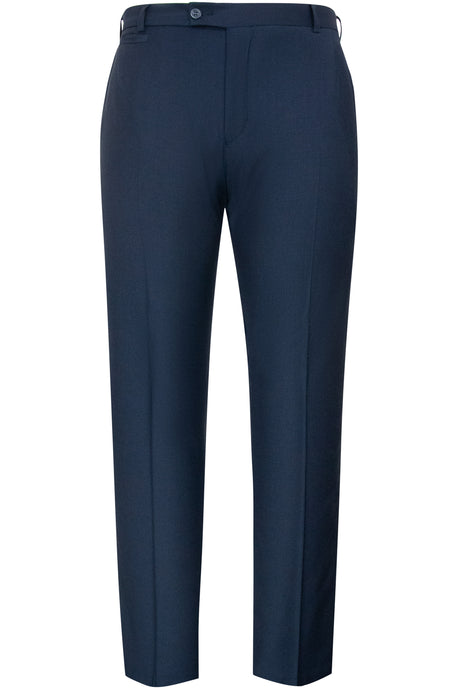 William Hunt Savile Row Classic navy flat fronted blue trousers