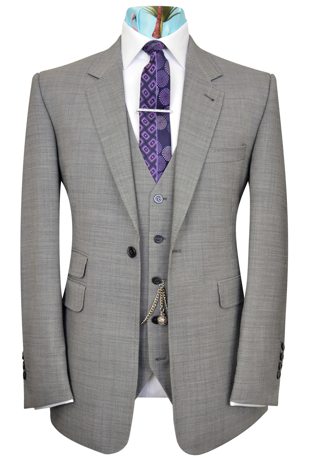 Grey pinhead weave three piece notch lapel suit