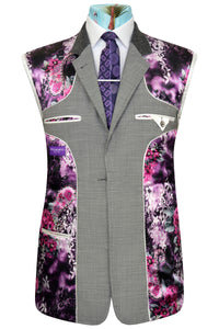 Grey pinhead weave three piece suit with striking purple floral lining with pink and white highlights