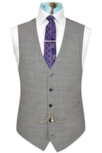 Grey pinhead weave waistcoat featuring a striking back purple floral lining with pink and white highlights