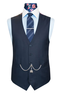 The Darlington Classic Navy Suit Waistcoat Front