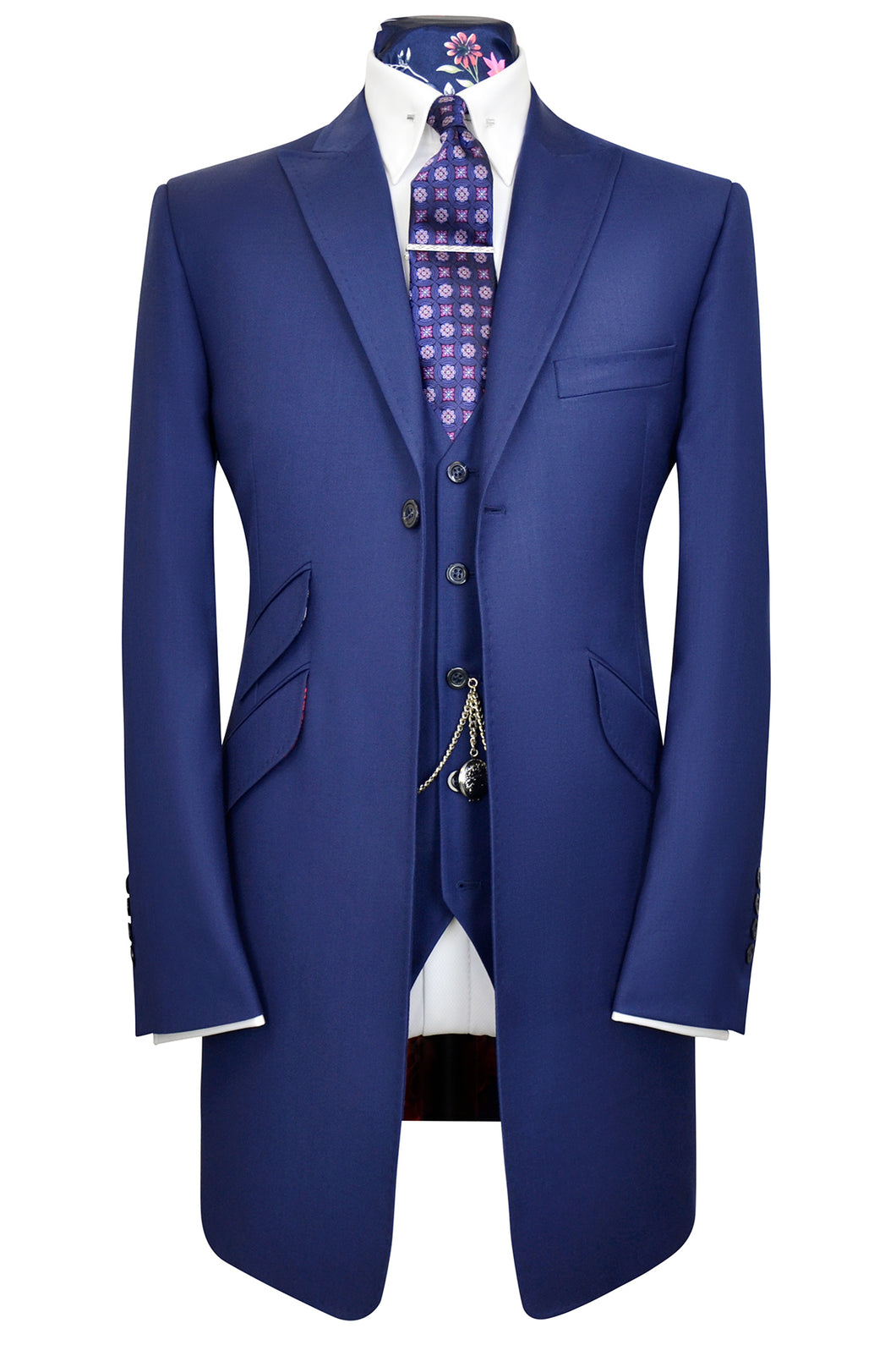 Zaffre blue three piece peak lapel frock coat suit