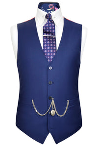 Zaffre blue waistcoat with multi-coloured floral back lining