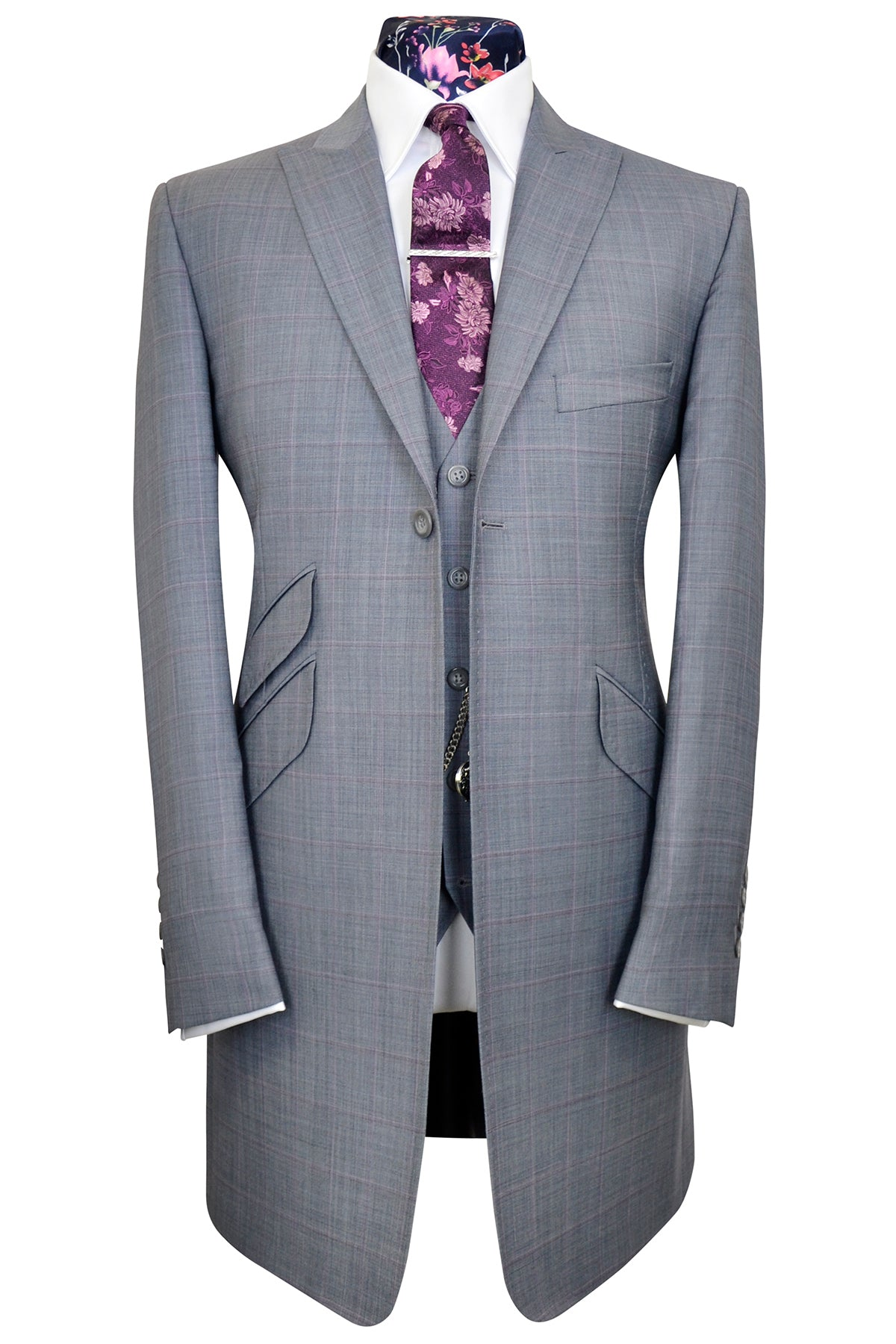 The Hollingsworth Dove Grey Frock Coat Suit with Pink and ...