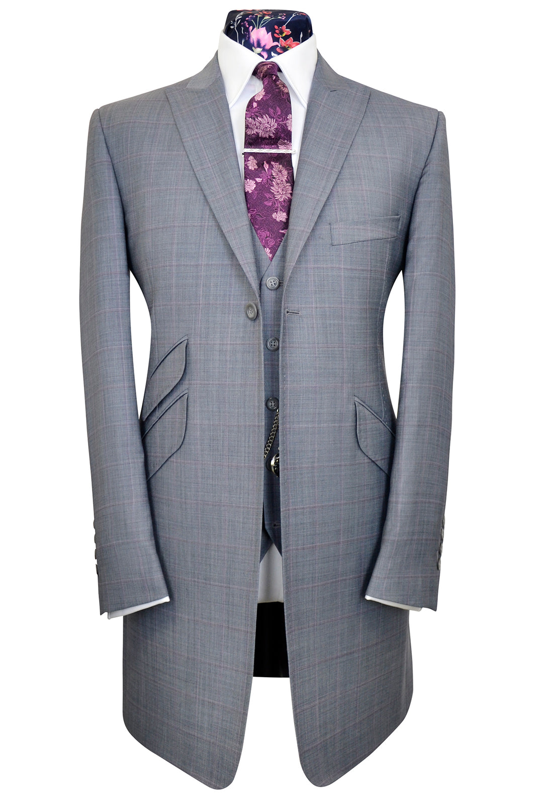 Dove grey three piece peak lapel frock coat suit