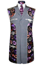 Dove grey three piece frock coat suit with vibrant multi-coloured floral pattern lining