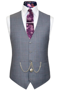 Dove grey waistcoat with vibrant multi-coloured floral pattern back lining