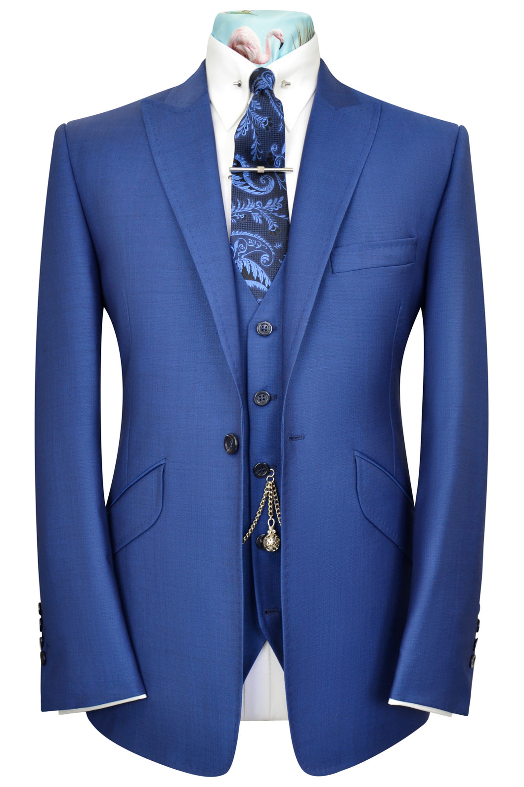 Zaffre blue three piece peak lapel suit