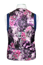 Zaffre blue waistcoat featuring a fully framed back purple floral lining with pink and white highlights