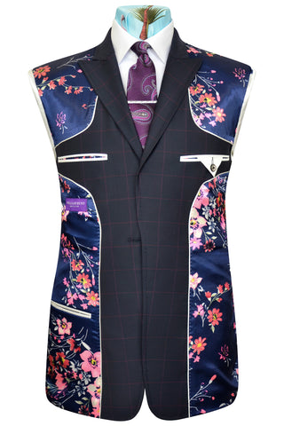 Navy three piece peak lapel suit with magenta overcheck