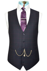 Navy waistcoat with magenta overcheck featuring a back navy lining with vibrant pink bouquet highlights