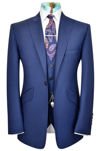 The Tennant Navy Blue Suit with Blue Square Dot