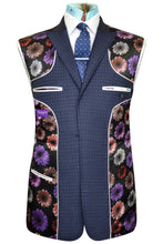 Blue three piece check suit featuring a black base lining with multi-coloured floral pattern