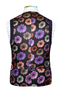 Blue check waistcoat featuring a back black base lining with multi-coloured floral pattern