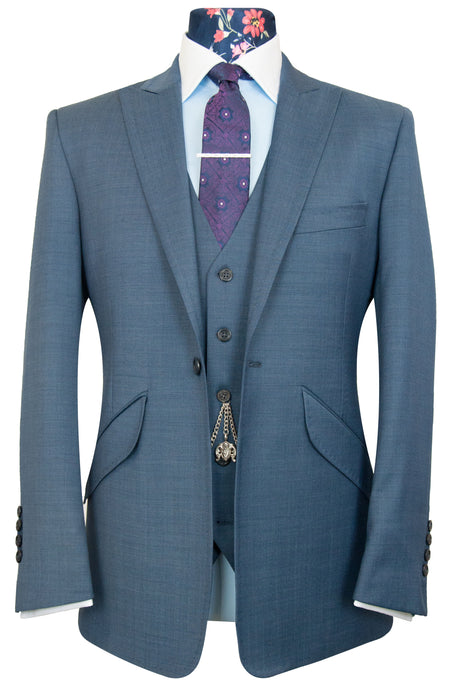 The Huxley Steel Blue With Floral Lining Suit
